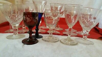 Sixteen beautiful crystal glasses of 18th and 19th century