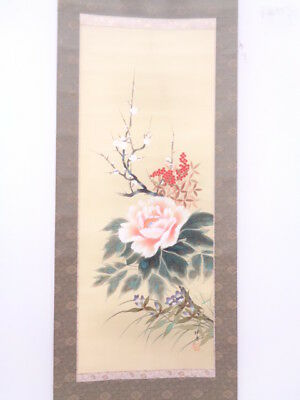 3950495: Japanese Wall Hanging Scroll / Hand Painted / Four Seasons Flowers Arti