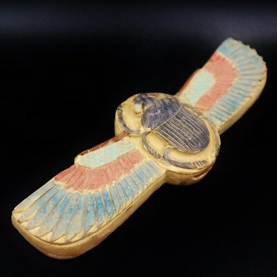 Rare Antique Egyptian Stone winged Scarab Beetle Amulet Figurine...VERY UNIQUE