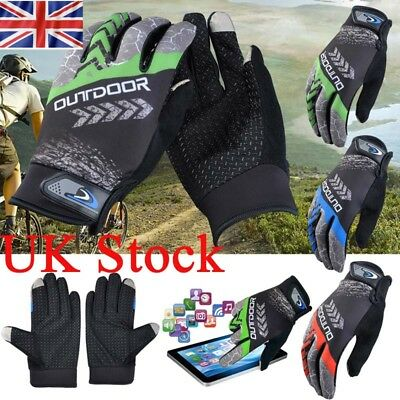 Mens Cycling Gloves Bike Full Finger Anti-slip Outdoor Sports Screen Touch Glove
