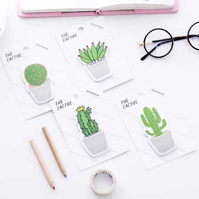 1X Green Plant Cactus Cute Sticky Notes Novelty Bookmark Memo Index Page Marker