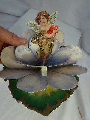 Vintage 90s ART DECO Reproduction CUPID Moving CARD Flower CARD Shackman & Co.