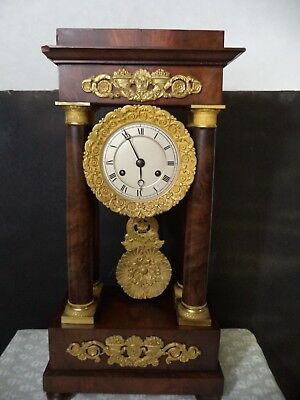 Ancienne  Pendule Portique A Colonne Acajou Empire Bronze Clock French Antique