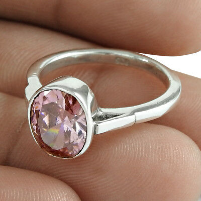Pink Cubic Zirconia Gemstone 925 Sterling Silver Ring Band US Size 7