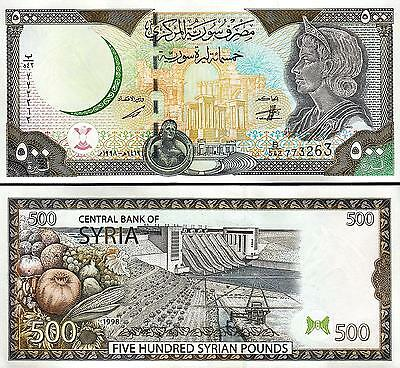 SYRIA 500 POUNDS 1998 , UNC , 2 PCS CONSECUTIVE PAIR , WITH MAP P-110b