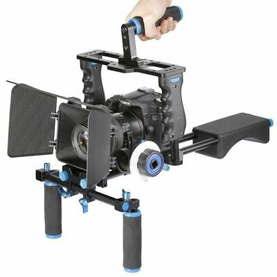 Film Movie Kit System Rig Support with Matte Box Follow Focus for DSLR Cameras