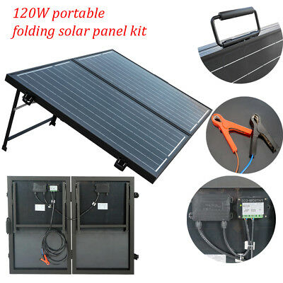 120W 12V Mono Portable faltbares Solar Panel Complete Kit Camping Boat RV Hiking