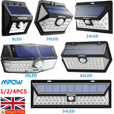 Mpow LED Solar Powered Light Motion Sensor Super Bright Security Wall Lights UK
