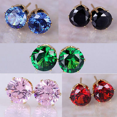 Tiny Crystal Earrings Round Glitter Cubic Zirconia Studs 18K Gold Plated Jewelry