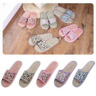 Unisex Linen Floral Home Indoor Slipper Open Toe Flax House Flat Slippers Eager