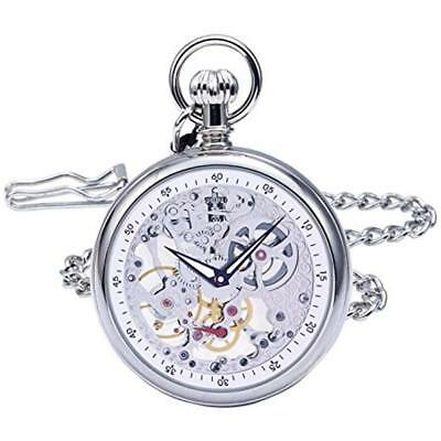 Pocket Watches Vintage Silver Brass Case Mechanical Open Face Skeleton With