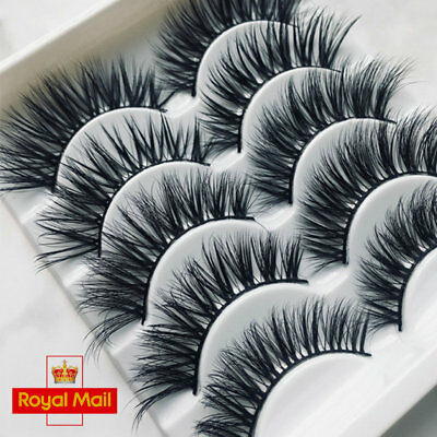 New 5/10Pairs 3D False Eyelashes Wispy Cross Long Soft Fake Eye Lashes Set Mink