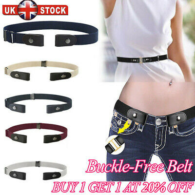 Buckle Free Stretchy Elastic Waist Belt Waistband Adjustable for Jeans No Bulge#