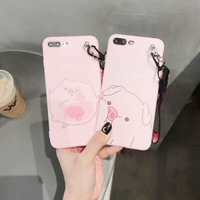 Hot Cute Pink Pig Pendant  Case Cover TPU For iPhone X XS Max XR 6 7 8 Plus New