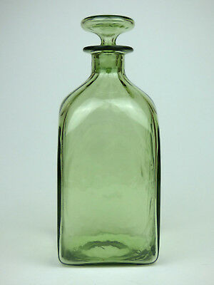 Whitefriars ribbed sea green glass square decanter 1460 England Deco 30s