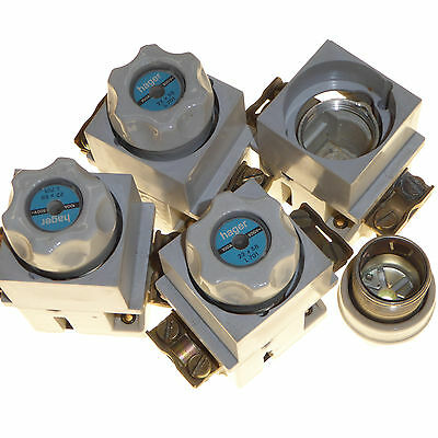 4 x 100 amp bottle fuse carriers porcelain DIN rail or screw mount Hager L701