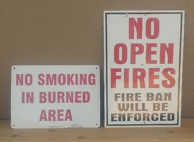 Vintage Signs FIRE BAN WARNINGS lot of two, aluminum
