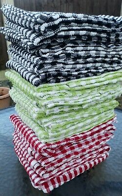 Packs of Large Terry Tea towels Absorbent 100% cotton cloth  RED BLACK LIME