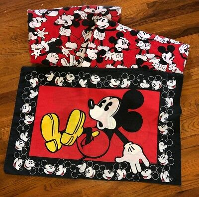Vintage Red Black Yawning Mickey Mouse Minnie Twin Bed Sheet Set Disney Emotions