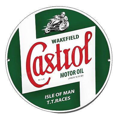 Castrol Isle Of Man Tt Races Reproduction Round Metal Sign.man Cave Sign.