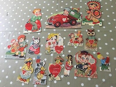 Lot of 14 Cute Vtg Kids Mechanical Valentines~1940s