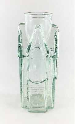 Vintage Clear Glass Decanter  Victorian House or Castle Shape 7.5 Inches