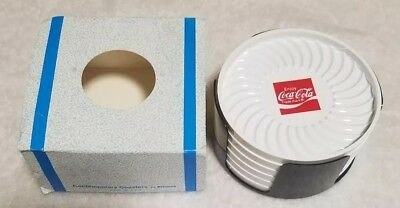 "Set of 6 Plastic Coca Cola Drink Coasters in holder ritepoint 3"" wide vintage"