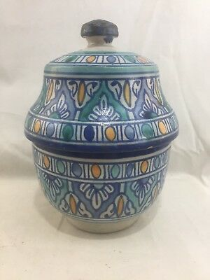 Very Nice Antique / Vint. Moroccan Fez ACH Art Pottery Covered Jar Vessel
