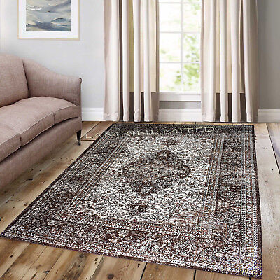 Traditional Vintage Style Persian Rug Design Oriental Faded Beige Brown Carpet