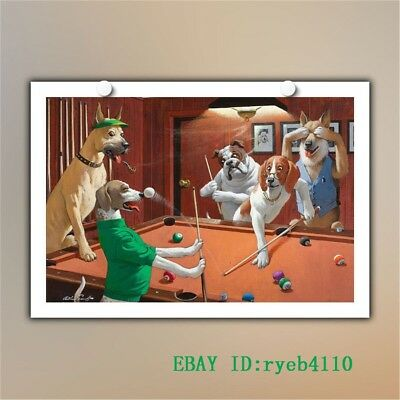 Dogs Playing Pool HD Art Painting Wall Decoration on Canvas Print 12x18 inch