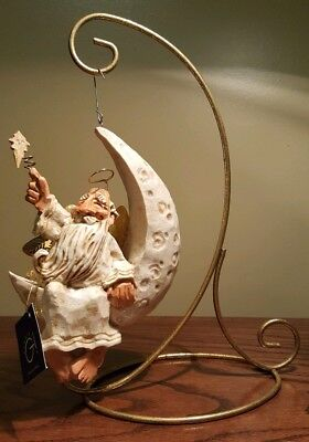 David Frykman ALL THAT GLITTERS  Angel in Crescent Moon  large ornament 1996