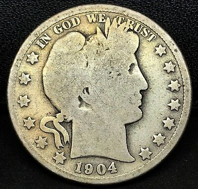 1904-S Circulated Barber Half Dollars ~ Scarce ~ Better Date !