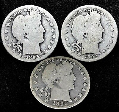 1895 ( P-O-S) CIRCULATED BARBER HALF DOLLARS ~ 3 Coins Set~ SCARCE~BETTER DATE