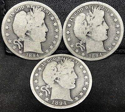 1894 ( P-O-S) CIRCULATED BARBER HALF DOLLARS ~ 3 Coins Set~ SCARCE~BETTER DATE