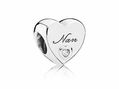 New Authentic Genuine Pandora Sterling Silver Nan's Love Heart Charm 797031CZ