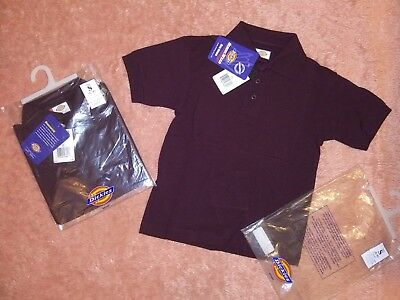 New Dickies Kid's Boy's Pique Short Sleeve School Uniform Polo Shirt S BURGUNDY