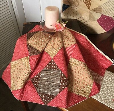 Antique Vintage Old 1800's Early Prints Square In Square Cinnamon Quilt Piece #3