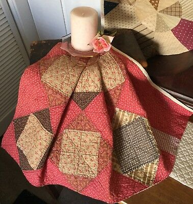 Antique Vintage Old 1800's Early Prints Square In Square Cinnamon Quilt Piece #4