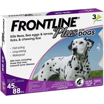New Frontline Plus Tick and Flea Treatment for Dogs 45-88 Lbs 3 Month Supply