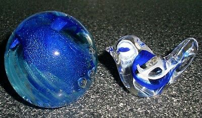 Isle Of Wight Studio Hand Made Two Pieces Blue Glass Paperweight And Bird