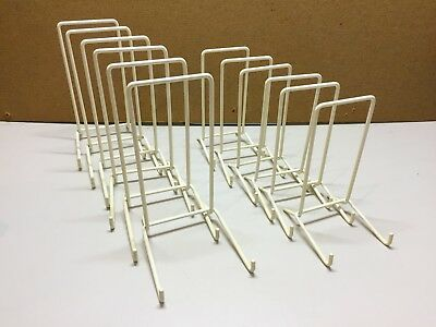 """Vintage 12x Metal Plastic Coated White Plate Holders 6 x 5"""" tall and 6 x 6"""" tall"""
