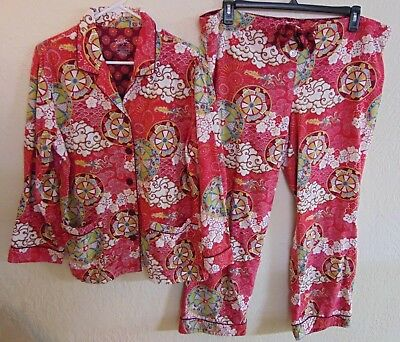 c8f09895e1 Nick   Nora 2 Pc Flannel Pajama Set Size XL Red Asian Dragon in Sky Print