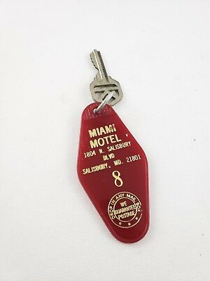 Vintage Hotel Key Fob Miami Motel Salisbury MD Room 8