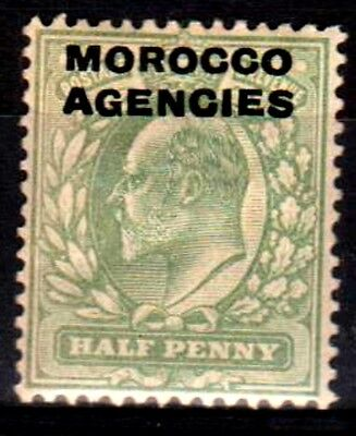 Morocco Agencies:KEVII:1907:British Currency,1/2d,Pale yellow green.Mint.
