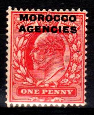 Morocco Agencies:KEVII:1907:British Currency,1d, Scarlet.L.M.Mint.
