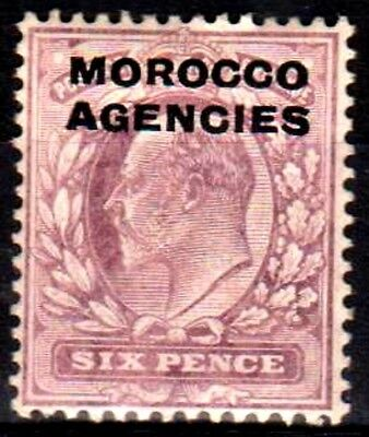 Morocco Agencies:KEVII:1907:British Currency,6d,Pale dull purple.Mint.C.£15+