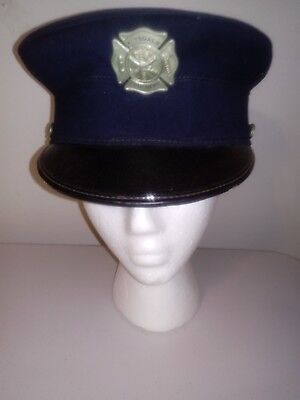 Vintage 1950s Hinsdale IL CHICAGO Fire Department Dress Hat w/ BADGE ~NICE