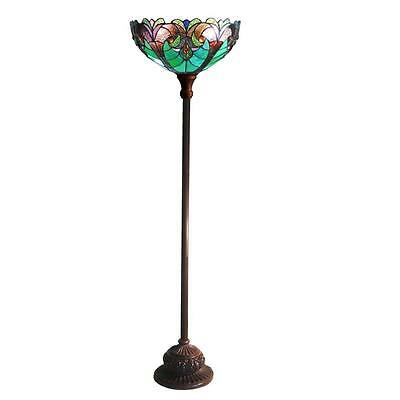 "Stained Glass Chloe Lighting Victorian 1 Light Torchiere Floor Lamp 15"" Shade"