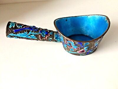 Antique Chinese Copper Enameled Ladle