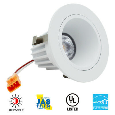 "2"" Inch LED Recessed Downlight Trim - Dimmable 9W/3000K - White Round Smooth"